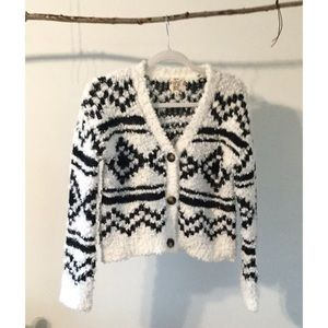 Hippie Rose Black & White Chenille Geometric Cardi